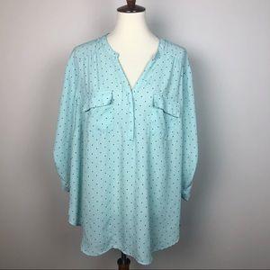 Torrid mint Green polka dot blouse Sz 3